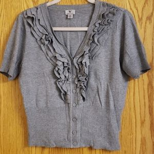 Worthington cropped button down sweater